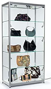 Amazing Tempered Glass Curio Cabinet With 8 Halogen Lights, 78 X 40 X 16.5 Inch,  Free Standing, Locking Hinged Doors, Floor Levelers And 4 Green Edge Glass  Shelves ...