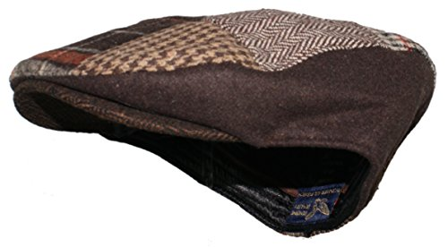 Ted and Jack - Tweed Patchwork Newsboy Driving Cap With Quilted Lining (Small/Medium, Red Buffalo (Patchwork Felt)