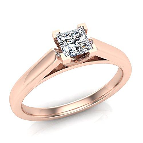 Glitz Princess Cut Diamond Engagement Ring 14K Rose Gold ...