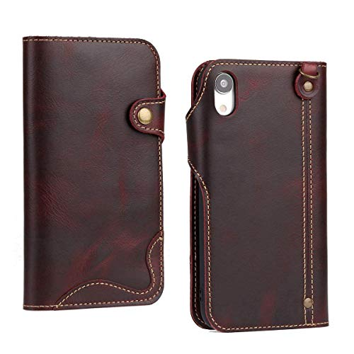 Lnobern Case for iPhone XR,Vintage Genuine Leather Flip [Top cowhide][Environmental Certification][Self repair Scratch][Magnetic Buckle][Hand Rope] Wallet Case for Apple iPhone XR (wine red, 6.1 inch)