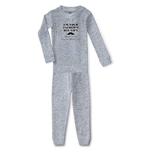 I'm Your Mom Says You're Welcome Cotton Crewneck Boys-Girls Infant Long Sleeve Sleepwear Pajama 2 Pcs Set - Oxford Gray, 5/6T ()