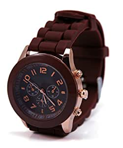 Neverland 15 Colors Unisex Geneva Silicone Jelly Gel Quartz Analog Sports Watch Brown - Best Present for Kid Boy Girl