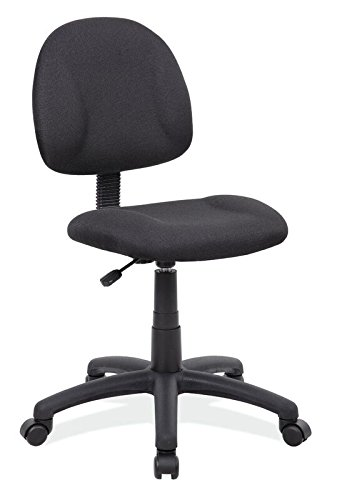 Boss Office Products B315-BK Perfect Posture Delux Fabric Task Chair without Arms in Black