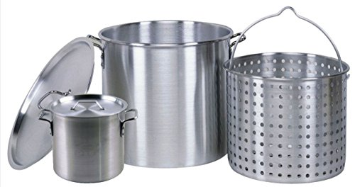 (Professional Grade 80 Quart All Purpose Boiling Pot with Basket (3pc) plus a Bonus 12 Quart Stock Pot (2pc) .)