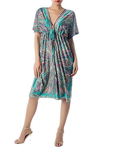iB-iP Mujer Penetración Profunda Floral Impresión Floja Mini Vestido De Columna Mar verde