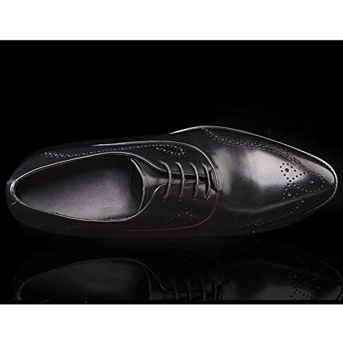 Elegante Graduación Cordones Black Hombres De Casual Zapatos Oficina En Formal Planos Punta Prom Vestir Con Para Cuero p0COwqx