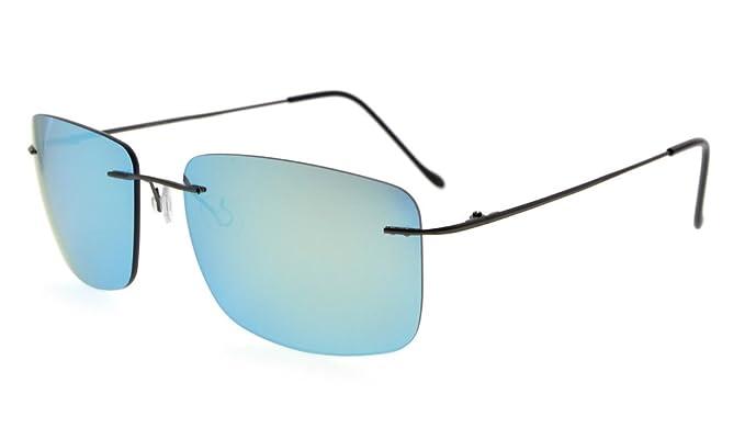 Eyekepper Titanium Rimless Sonnenbrille mit TAC Polarisierte Linse (Blauer Spiegel) 69t9ASFwe