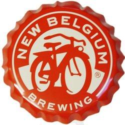 New Belgium Brewing Company Red Bottle Cap Tin Tacker - 18