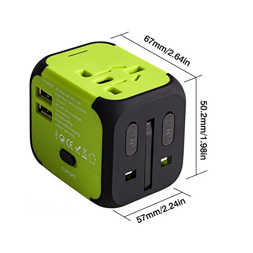 Travel Adapter Uppel Dual USB All-in-one Worldwide Travel Chargers Adapters for US EU UK AU about 150 countries Wall Universal Power Plug Adapter Charger with Dual USB and Safety Fuse(Green)