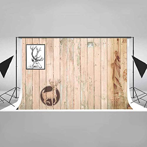 EARVO 7x5ft Cotton Backdrop (Wrinkle Resistance) Wooden Wall Reindeer Photos Photography Background Room Decoration Photo Studio Props EALH012 ()