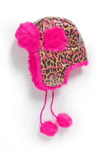 Peace of Cake Trapper Hat - Leopard Print (Medium, Pink)