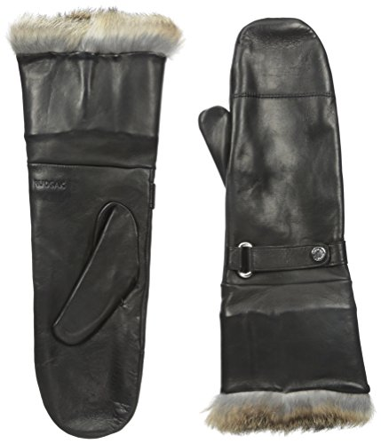 RUDSAK Women's Glory Leather Mittens with Fur Cuff, Black/Natural, Large
