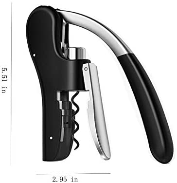Sacacorchos vertical compacto profesional para abrebotellas de vino, color negro