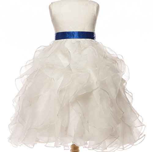 Big Girls' White Stunning Satin Sash Ruffled Communion Flowers Girls Dresses White Royal Size 10 -