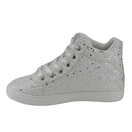 FOREVER FP65 Womens Glitter Sparkling Lace Up Ankle High Fashion Sneakers White 9p0Sw3KA0Q