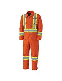 Pioneer V206095A-L Insulated Heavy-Duty Work Coverall, Hip-to-Ankle Zipper - Cotton Duck, Orange, L
