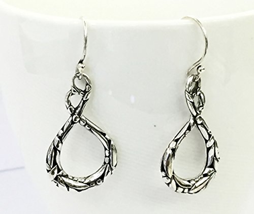 (925 sterling silver infinity dangle drop earrings, plain hand made earrings with bali carving design)