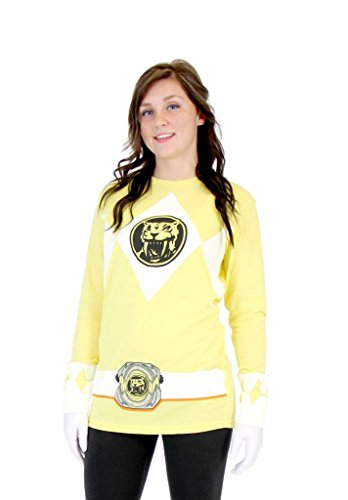 [Power Rangers Yellow Ranger Long Sleeve T-Shirt & Gloves (Adult X-Large)] (Yellow Samurai Ranger Costume)