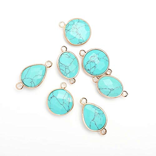 Waterdrop Connectors Lots Supplies Imitation Blue Turquoise Dropped Pendant with Electroplated Gold Edge Sold by 10 Pcs (2 Loops)