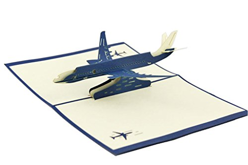 (IShareCards Handmade 3D Pop Up Greeting Cards for Every Occasion - Airplane (Passenger Aeroplane Blue))