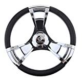 MagiDeal 350mm 3/4'' Steering Wheel with Polished Chromed Spokes for Marine Boat Yacht