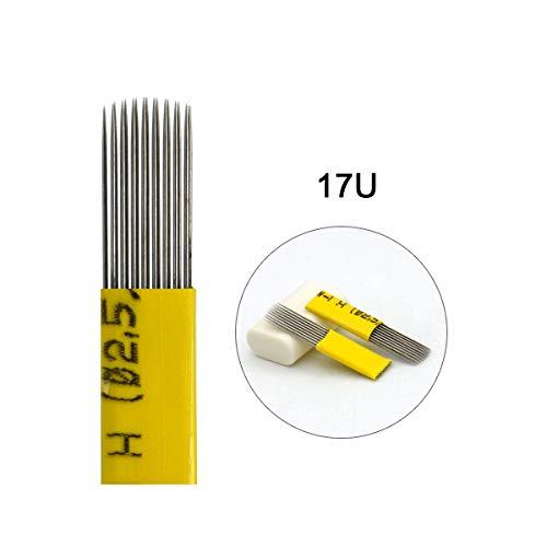 (50pcs Yellow Microblading Needles 17U Flat Double Line 0.25mm Blade Permanent Makeup Tattoo Needle for Fog Power Eyebrow Available size 15U,17U,19U,21U,9F,17F(17U))