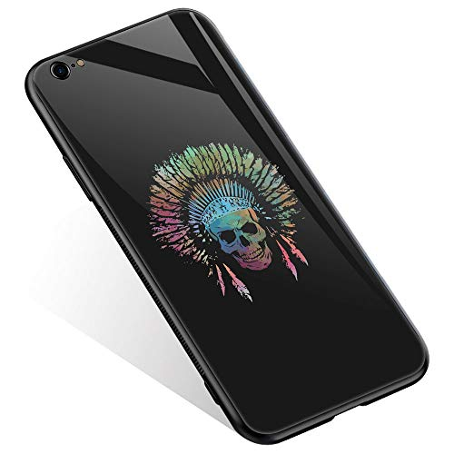 (iPhone 6 Case, iPhone 6s Cases Chief Skull Watercolor Thin Tempered Glass Back Cover [Shock Absorption] Soft TPU Bumper Frame Support Case for iPhone 6/6s)