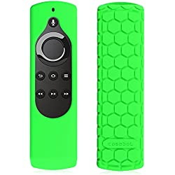 Fintie CaseBot Silicone Case for Amazon Fire TV Stick Voice Remote, Compatible with Amazon Echo / Echo Dot Alexa Voice Remote - Honey Comb Series [Anti Slip] Shock Proof Cover, Green