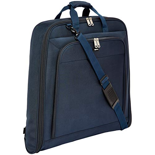 AmazonBasics Premium Travel Hanging Luggage Suit Garment Bag - 40 Inch, Navy Blue