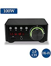 Festnight HIFI BT5.0 Digital Amplifier Mini Stereo Audio Amp 100W Dual Channel Sound Power Audio Receiver Stereo AMP USB AUX for Home Theater USB TF Card Players Black