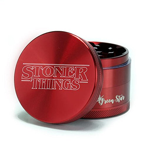 Herb Grinder - Stoner Things - Stranger Things - Custom Grinder 4 Piece Herb Grinder (red) by The Stash Co