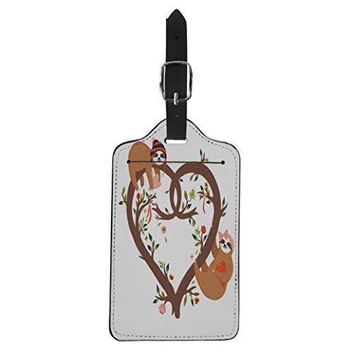 Semtomn Luggage Tag Funny Sloths Heart Shaped Tree Cute Flowers Branch Collection Suitcase Baggage Label Travel Tag Labels