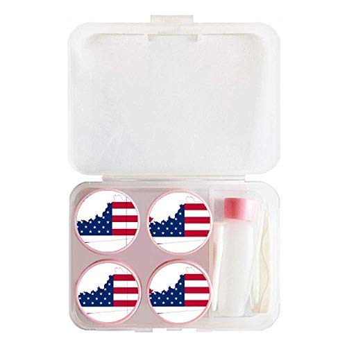 Kentucky USA Map Stars Stripes Flag Shape Contact Lens Case Bulk Tweezers Container Holder