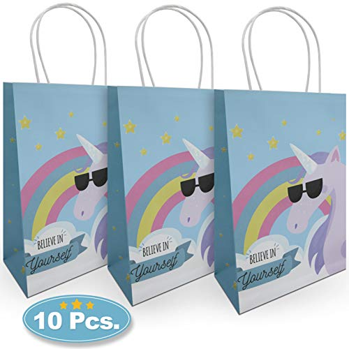 (Kaapow Unicorn Party Bags. 10 Paper Bags with Handles. Perfect for Children's Birthday Parties, Treats, Toys, loot, Favors, Craft and)