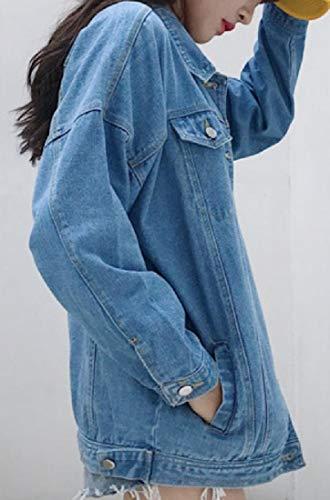 Coat Relaxed Long Womens Sleeves Jean Distressed RkBaoye Windbreakers Blue Fit 8ZqxU6