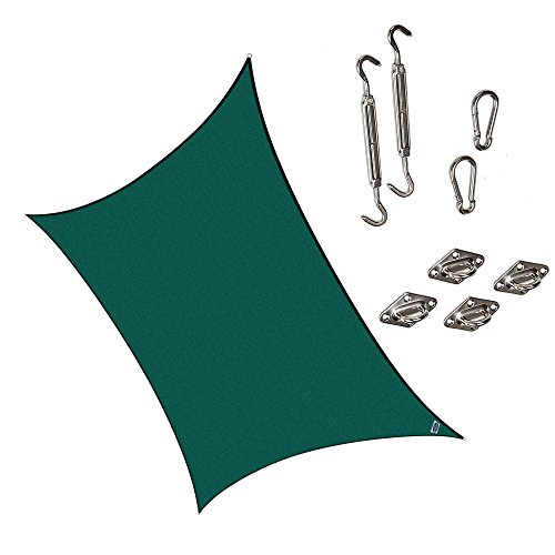 Cool Area Rectangle 9'10'' X 13' Sun Shade Sail with Stai...