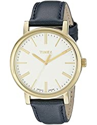 Timex Womens TW2P63400AB Originals Gold-Tone Watch with Blue Leather Band