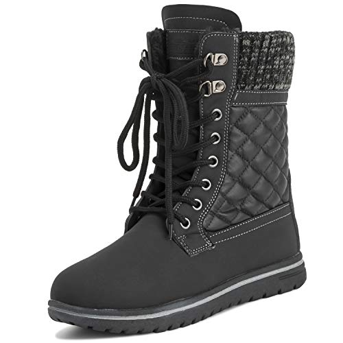 Polar Products Womens Quilted Short Faux Fur Snow Waterproof Winter Durable Warm Boots - 9 - BLK40 AYC0528