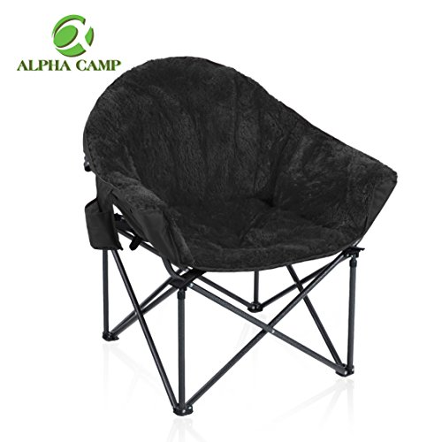 Padded Seat Lounge Chair - ALPHA CAMP Folding Oversized Padded Plush Moon Chair with Cup Holder and Carry Bag-Black