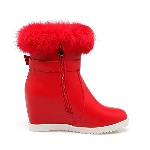 Toe Heels Closed Solid Round Zipper Soft WeiPoot Boots High Material Red Women's fEAwXnxqY