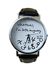 Techvilla Novelty Wirst Watch Whatever I'm Late Anyway Watch Cool Fashion Trendy Newest Leather Wirst Watch Cool Bangle Watch for Girl Women's Lady Black and White
