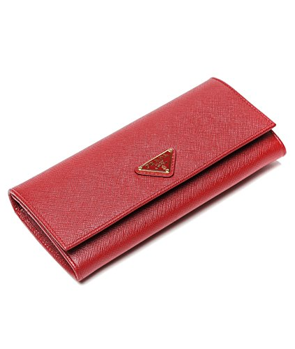 Wiberlux Prada Women's Triangle Logo Flap Front Real Leather Wallet