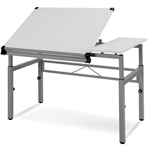 Adjustable Drafting Tables - Tangkula Adjustable Drafting Table Art & Craft Drawing Desk Folding with Side Shelf White