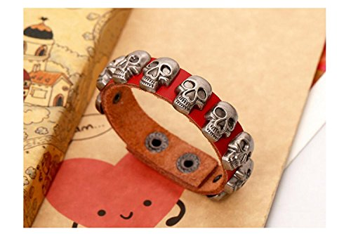 Fariishta Jewelry Fashion Skull Gothic Retro Punk Style Red Leather (Foiled Panther)