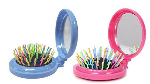 (LOUISE MAELYS 2pcs Mix Color Round Folding Pocket Hair Brush Mini Pop-up Hair Comb with Makeup Mirror Rainbow Bristles)