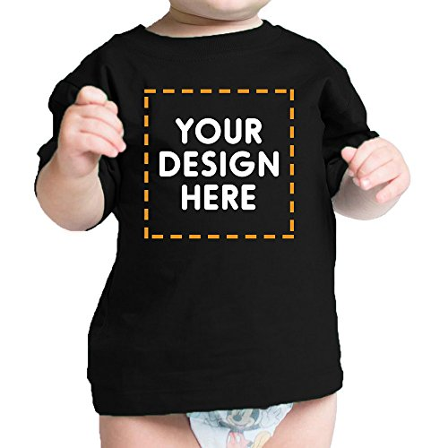 365 Printing Your Photo Here Custom Black Baby T-Shirt Personalized Baby Gifts