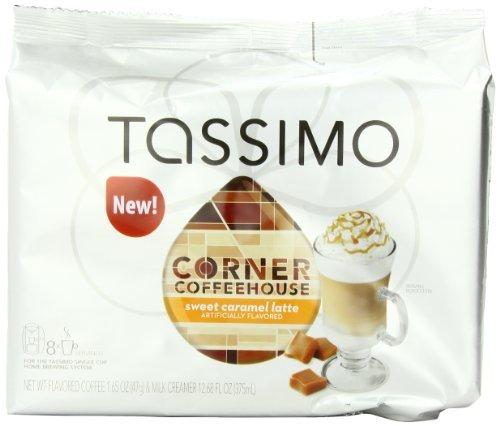 Tassimo Corner Coffeehouse Sweet Latte, Caramel, 8-Count,...
