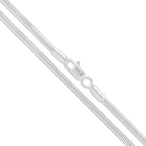 Verona Jewelers Sterling Silver 2MM, 2.5MM, 3MM, 4MM, 5MM Solid Round Snake Chain Necklace- Flexible Snake Chain Necklace, Round 925 Sterling Silver Necklace (24, -