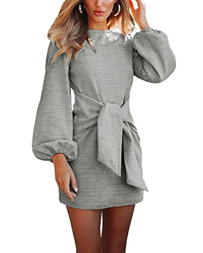 R.Vivimos Women's Autumn Winter Cotton Long Sleeves Elegant Knitted Bodycon Tie Waist Sweater Pencil Dress (Medium, Light Gray)