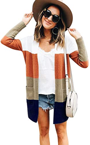 Lightweight Striped Sweater - ECOWISH Womens Color Block Striped Draped Kimono Cardigan with Pockets Long Sleeve Open Front Casual Knit Sweaters Coat Stripe S